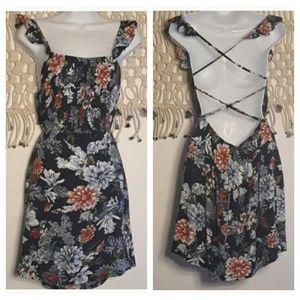LF Seek navy floral crisscross back dress